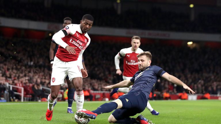 Ainsley Maitland-Niles in FA Cup action