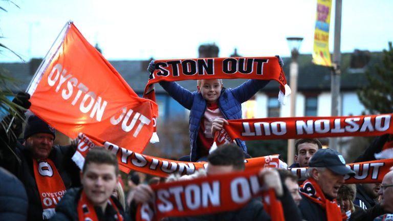 Blackpool fans protested at the Oystons&#039 ownership of the club ahead of the Arsenal game