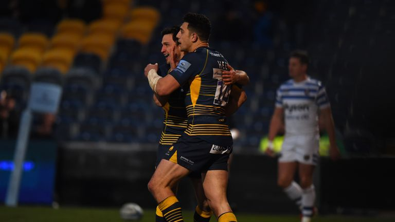 Bryce Heem celebrates after scoring his first try against Bath