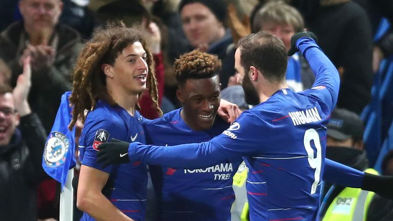 Callum Hudson-Odoi celebrates with Gonzalo Higuain and Ethan Ampadu after scoring Chelsea's second goal