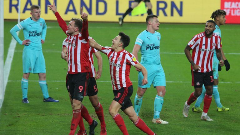 Charlie Wyke celebrates putting Sunderland 2-0 up against Newcastle U21s in the Checkatrade Trophy