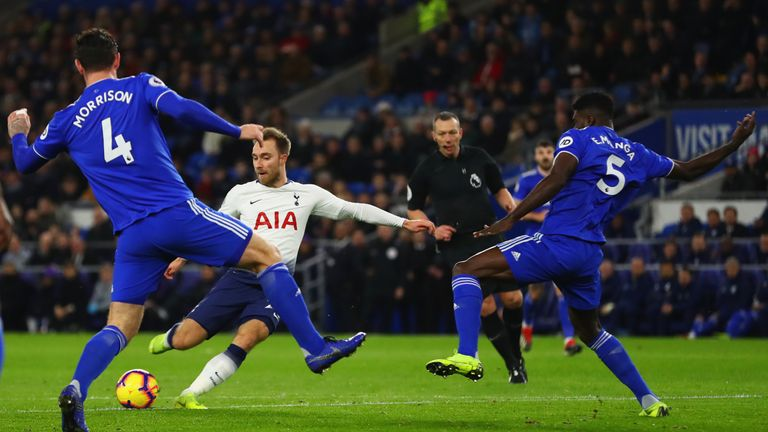 Christian Eriksen makes it 2-0 in the 12th minute