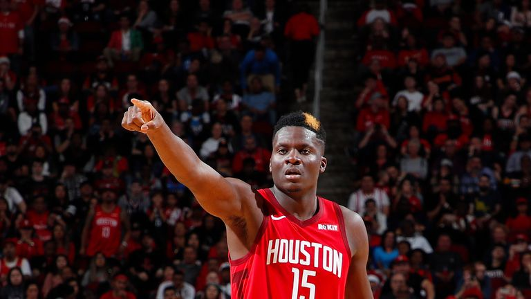 Clint Capela of the Houston Rockets in action