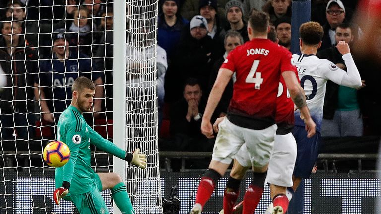 De Gea utilising a K-block save to keep out Tottenham's Dele Alli
