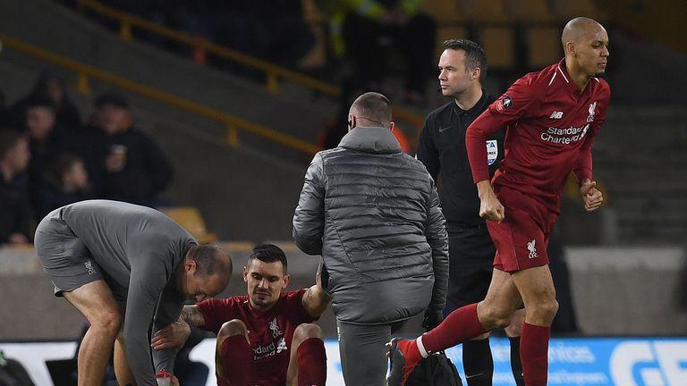 Dejan Lovren appeared to suffer a hamstring injury