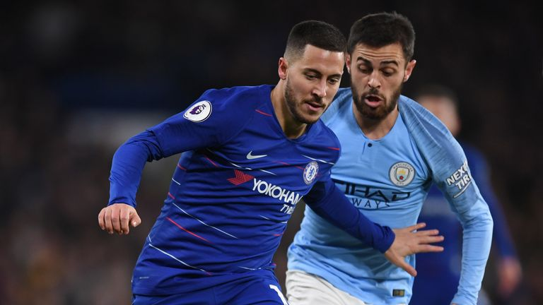 Eden Hazard and Bernardo Silva go head to head