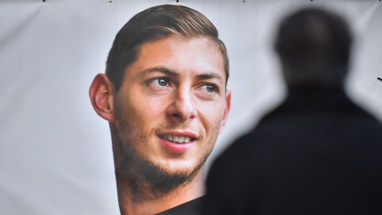 A portrait of missing footballer Emiliano Sala is displayed at the entrance to FC Nantes' training centre