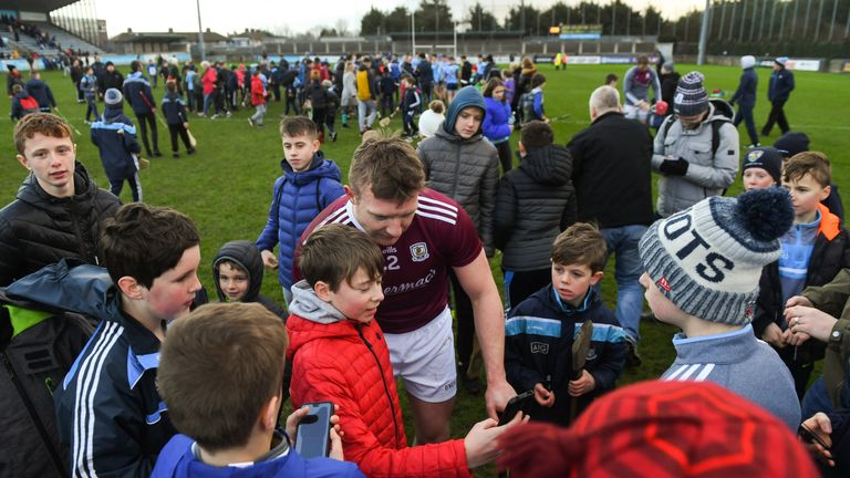 Man of the moment: Joe Canning surrounded by supporters after scoring a late winner against Dublin