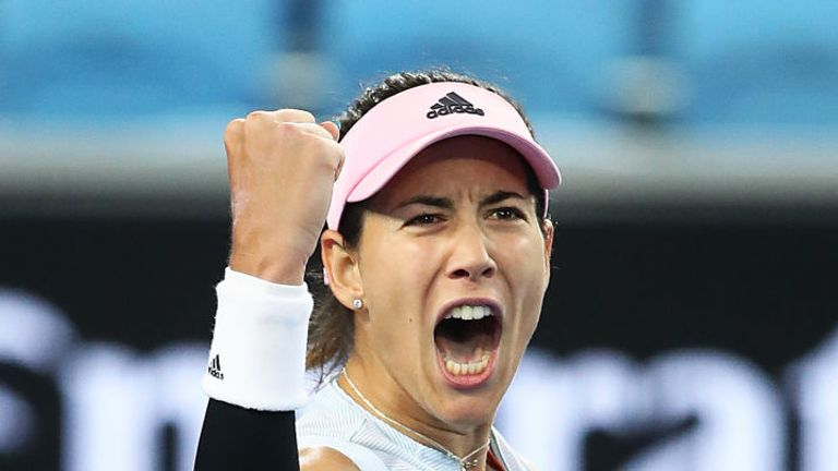 Garbine Muguruza of Spain celebrates at match point against Johanna Konta of Great Britain during day four of the 2019 Australian Open at Melbourne Park on January 17, 2019 in Melbourne, Australia