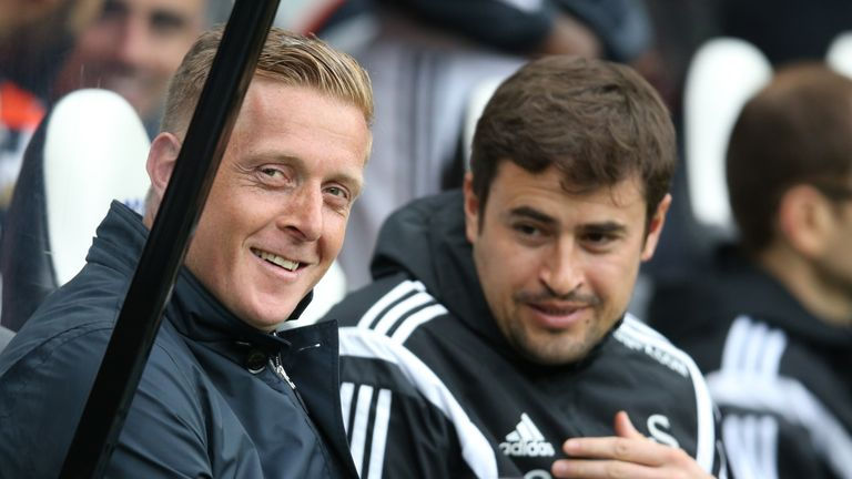 Clotet alongside Garry Monk during their time together at Swansea