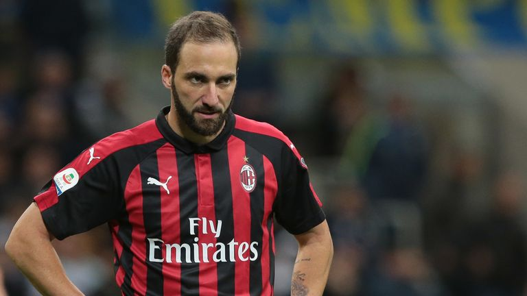 Gonzalo Higuain during the Milan derby at the San Siro