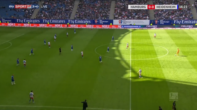 Hamburg goalkeeper Julian Pollersbeck (far right in orange) plays as a sweeper when he has the ball