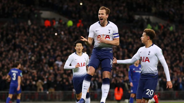 Kane celebrates his penalty opener for Tottenham