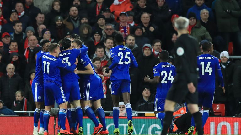 Harry Maguire is mobbed by team-mates after equalising at Anfield
