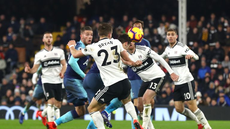 Harry Winks of Tottenham scores his sides second goal during the Premier League match between Fulham FC and Tottenham Hotspur at Craven Cottage on January 20, 2019 in London, United Kingdom