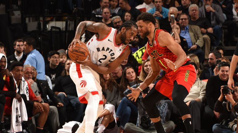 TORONTO, CANADA - JANUARY 8: Kawhi Leonard #2 of the Toronto Raptors looks to make a play against the Atlanta Hawks on January 8, 2019 at the Scotiabank Arena in Toronto, Ontario, Canada.  NOTE TO USER: User expressly acknowledges and agrees that, by downloading and or using this Photograph, user is consenting to the terms and conditions of the Getty Images License Agreement.  Mandatory Copyright Notice: Copyright 2019 NBAE (Photo by Ron Turenne/NBAE via Getty Images)