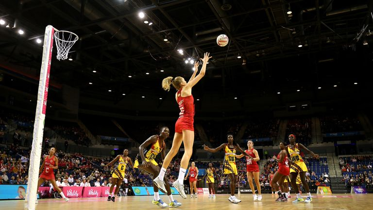 Helen Housby showing her elevation in the circle for England's Vitality Roses