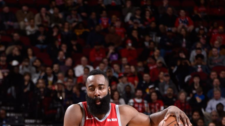 James Harden #13 of the Houston Rockets handles the ball against the Brooklyn Nets on January 16, 2019 at the Toyota Center in Houston, Texas.