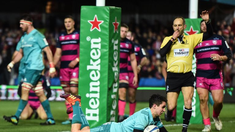 Joey Carbery proved the scorer of the vital first try at Kingsholm