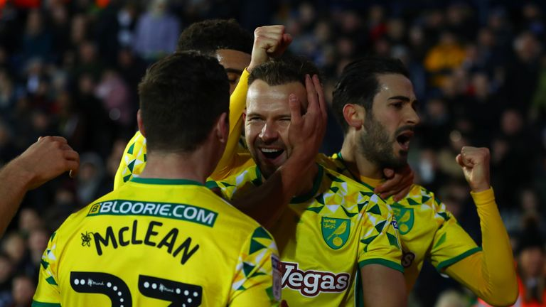 Jordan Rhodes celebrates scoring for Norwich
