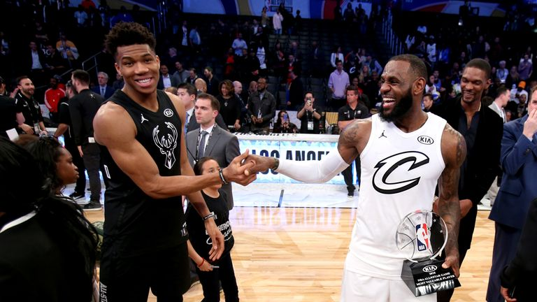 LOS ANGELES, CA - FEBRUARY 18:  LeBron James #23 of Team LeBron and Giannis Antetokounmpo #34 of Team Stephen after the NBA All-Star Game as a part of 2018 NBA All-Star Weekend at STAPLES Center on February 18, 2018 in Los Angeles, California. NOTE TO USER: User expressly acknowledges and agrees that, by downloading and/or using this photograph, user is consenting to the terms and conditions of the Getty Images License Agreement.  Mandatory Copyright Notice: Copyright 2018 NBAE (Photo by Nathaniel S. Butler/NBAE via Getty Images)