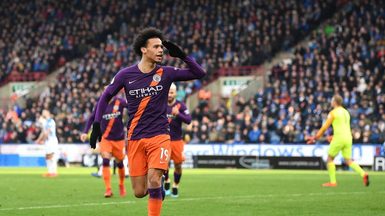 Sane made one and scored one for City at Huddersfield