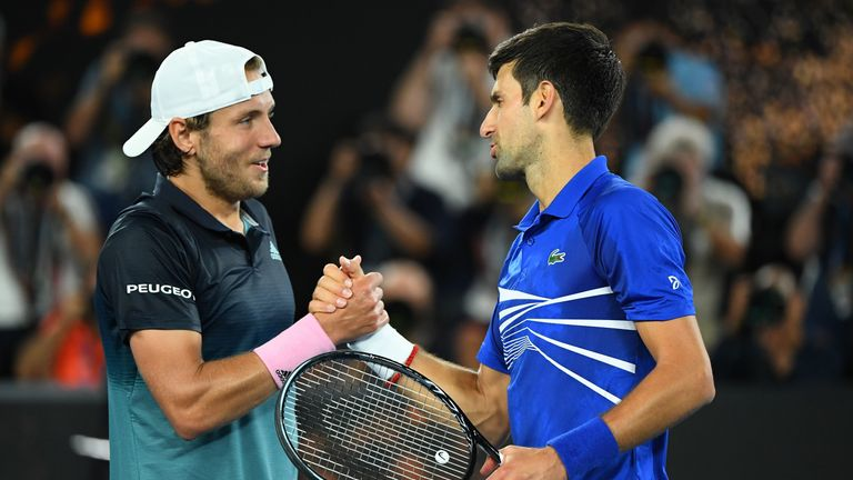 Lucas Pouille congratulates Djokovic on his near-perfect performance