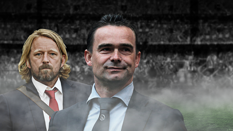 Ajax director of football Marc Overmars (right) has been tipped to take over from Mislintat