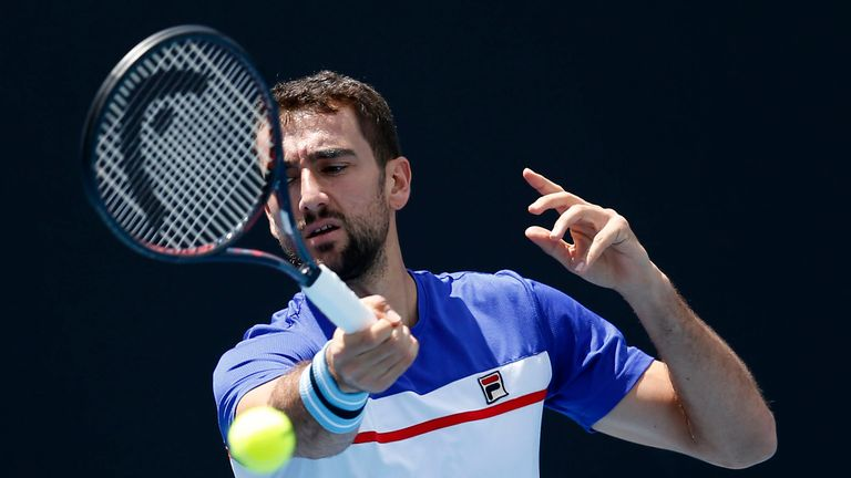 Marin Cilic of Croatia plays a forehand during a practice session ahead of the 2019 Australian Open at Melbourne Park on January 12, 2019 in Melbourne, Australia