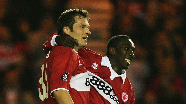 Hasselbaink enjoyed playing with Mark Viduka, left, at Middlesbrough
