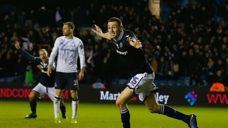 Murray Wallace celebrates scoring Millwall's winner