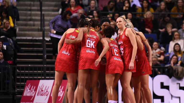 England's Vitality Roses during the 2019 Netball Quad Series
