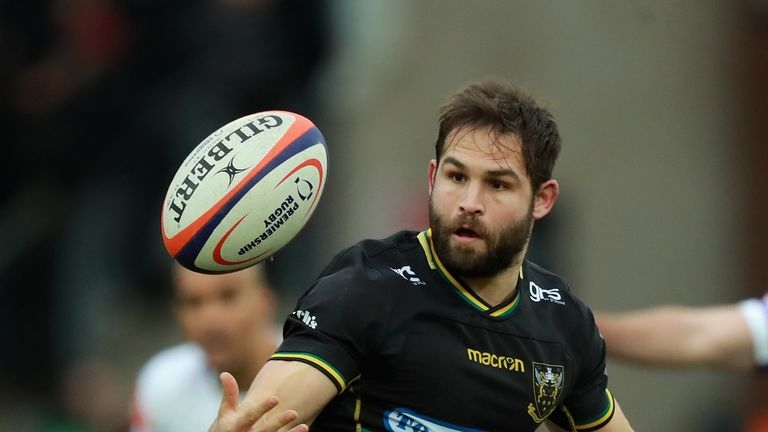 8ace78734 Northampton Saints  Cobus Reinach juggles the ball during his side s  Premiership Rugby Cup victory over