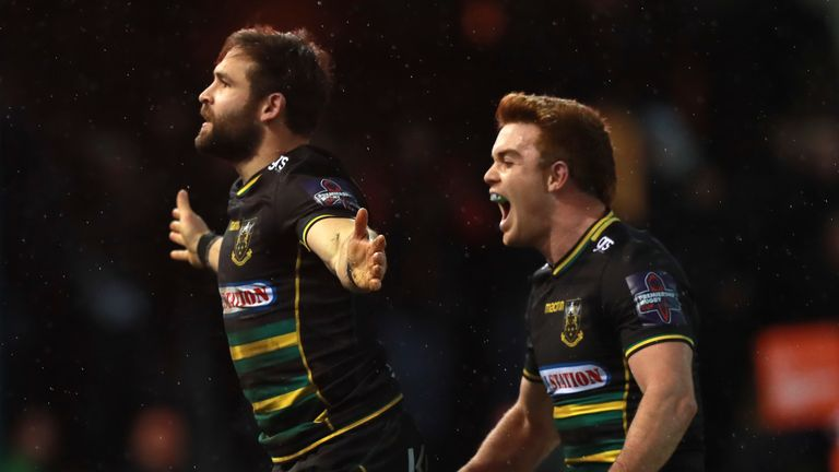 4b376d3d8 Northampton s Cobus Reinach celebrates scoring a try during the Saints   Premiership Rugby Cup victory over