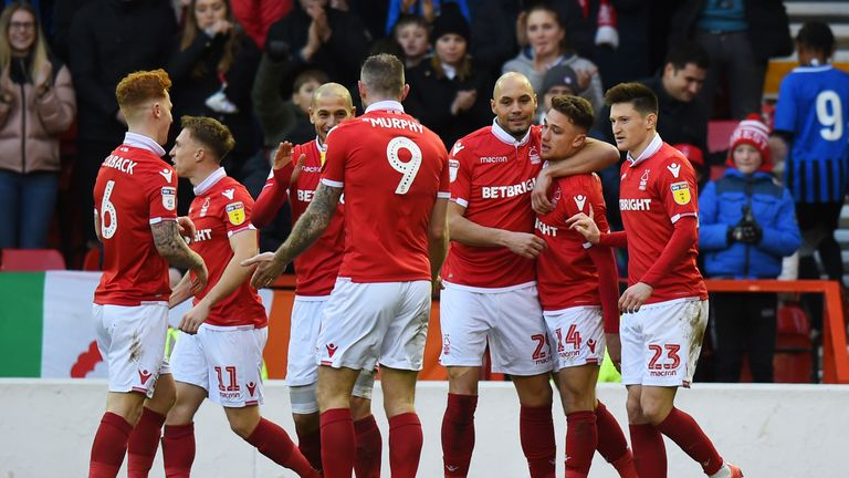 Nottingham Forest celebrate scoring their second goal 9433417c5fb61