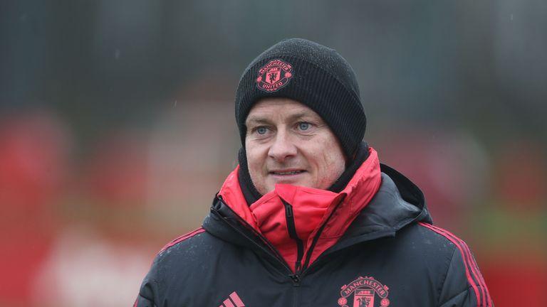 Manchester United caretaker manager Ole Gunnar Solskjaer oversees training