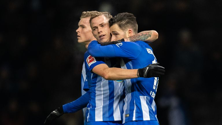 Ondrej Duda (centre) has nine goals in 17 Bundesliga games this season