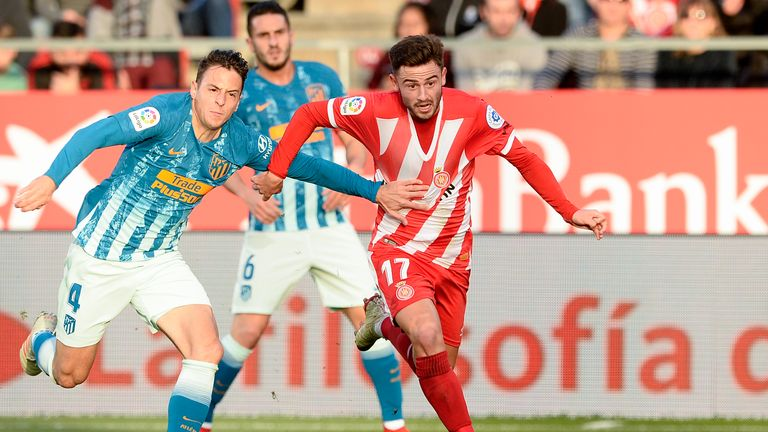 Patrick Roberts in action for Girona against Atletico Madrid in December