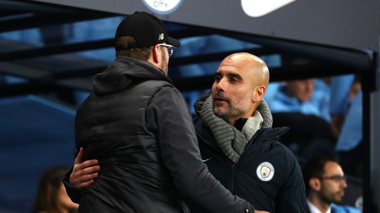Pep Guardiola and Jurgen Klopp embrace before kick-off but who are the favourites now