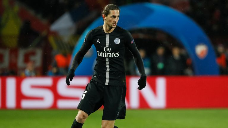 Adrien Rabiot was a substitute in PSG's 2-1 victory over Liverpool in the Champions League