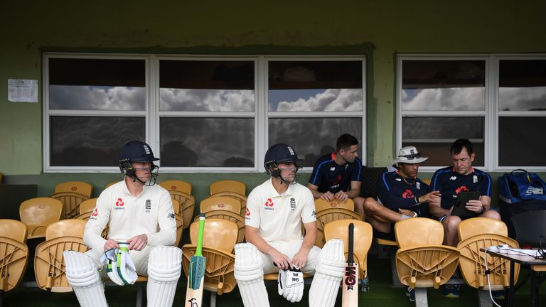 eaton Jennings and Rory Burns of England wait to go out to bat during day one of the match between West Indies Board XI and England at the Three Ws Oval on January 15, 2019 in Bridgetown, Barbados
