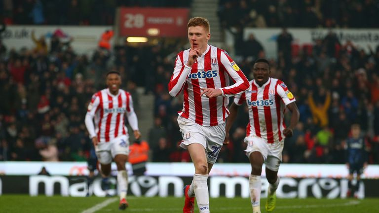 Stoke City's Sam Clucas celebrates scoring his side's first goal of the game