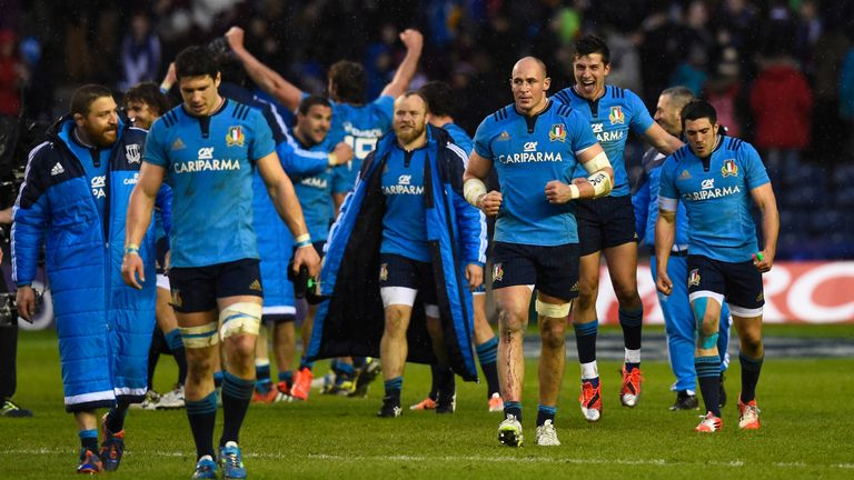 The celebrations after Italy's win over Scotland in 2015