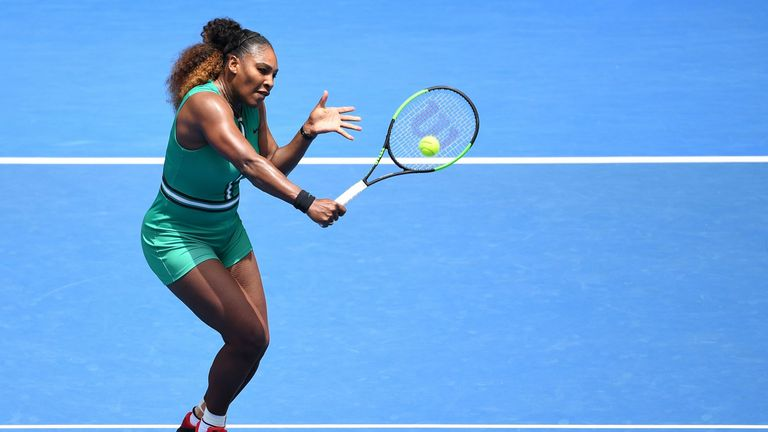 Serena Williams of the US plays a point against Germany's Tatjana Maria during their women's singles match on day two of the Australian Open tennis tournament in Melbourne on January 15, 2019.
