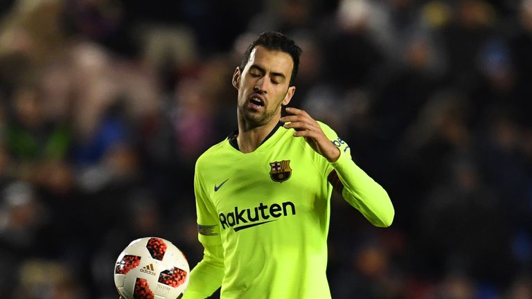 Barcelona's Sergio Busquets shows his frustration