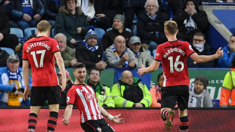 Shane Long celebrates after scoring Southampton's second goal against Leicester