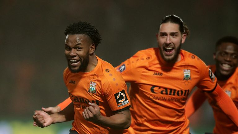 Barnet's Shaquile Coulthirst (left) celebrates scoring his side's second goal