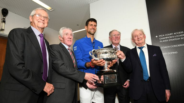 Djokovic poses with Rod Laver, Frank Sedgman, Ken Rosewall and Roy Emerson (L)