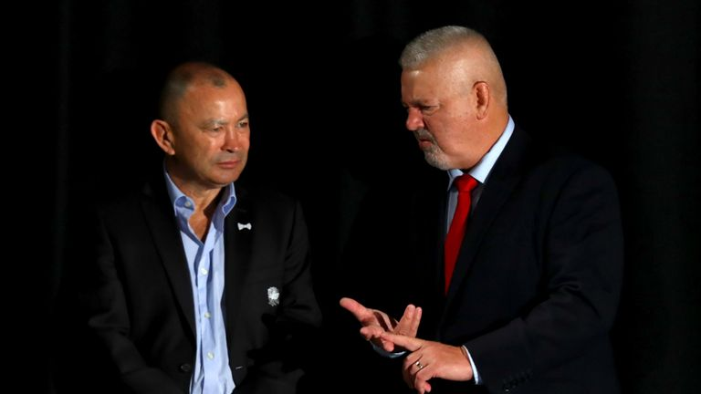 Wales' Warren Gatland, and England's Eddie Jones look on during the 6 Nations Launch event at the Hurlingham Club in west London on January 23, 2019.