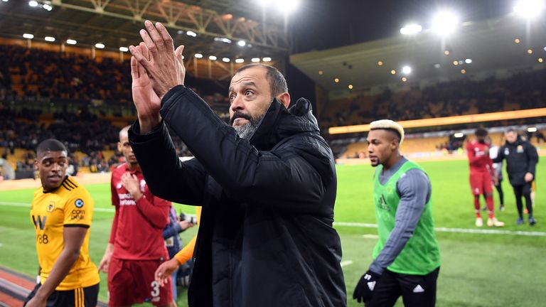 Nuno Espirito Santo celebrates Wolves' win over Liverpool in the FA Cup third round